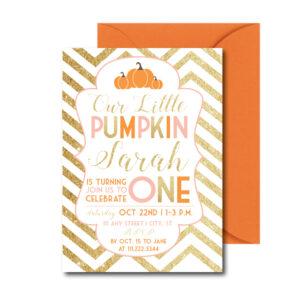 Glitter Pumpkin Party Invite