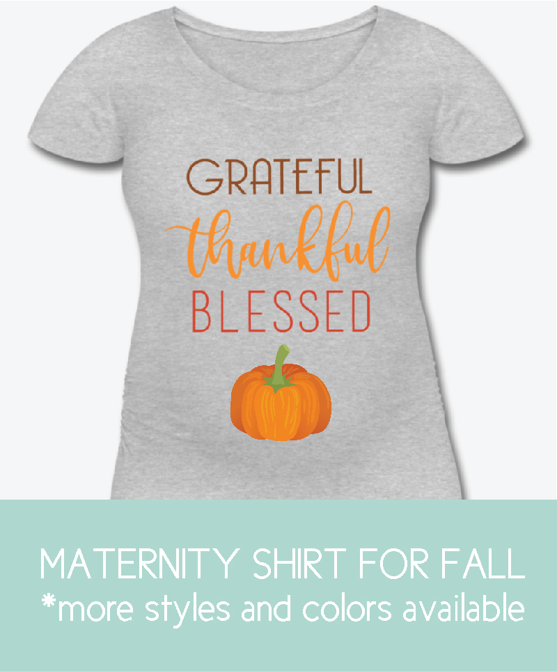 Maternity shirt with grateful, thankful, blessed