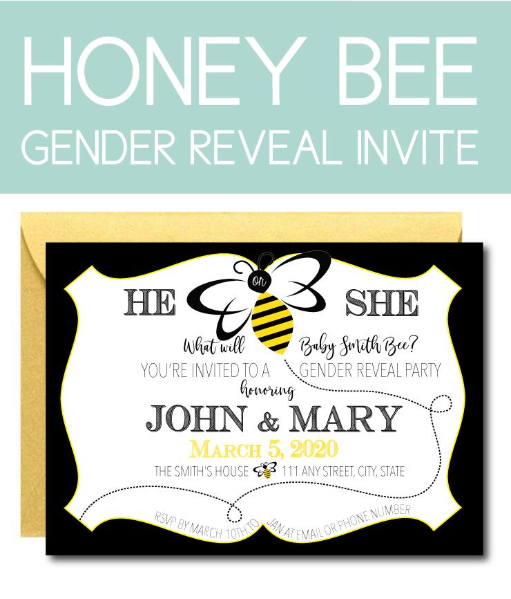 Honey Bee Gender Reveal Invite