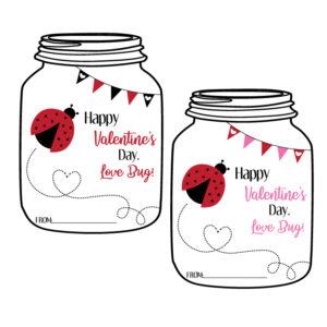 Mason Jar Shaped Love Bug Valentine