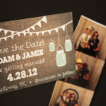 Mason Jar Magnet or Card Save the Date | Save the Date with Burlap | Envelopes Included | Set of 5 Save the Date Magnets or Printed Cards