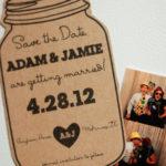 Mason Jar Magnet Save the Date | Rustic Wedding Save the Date in Mason Jar Shape | Printed Design