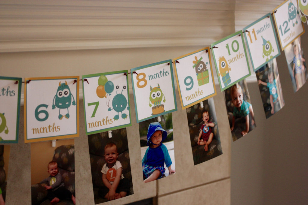 Monster Themed Birthday Banner | Monthly Photo Decor for First Birthday Party | 12 Month Birthday Banner for Photos