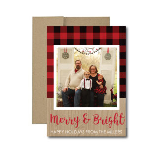 flannel christmas card with photo