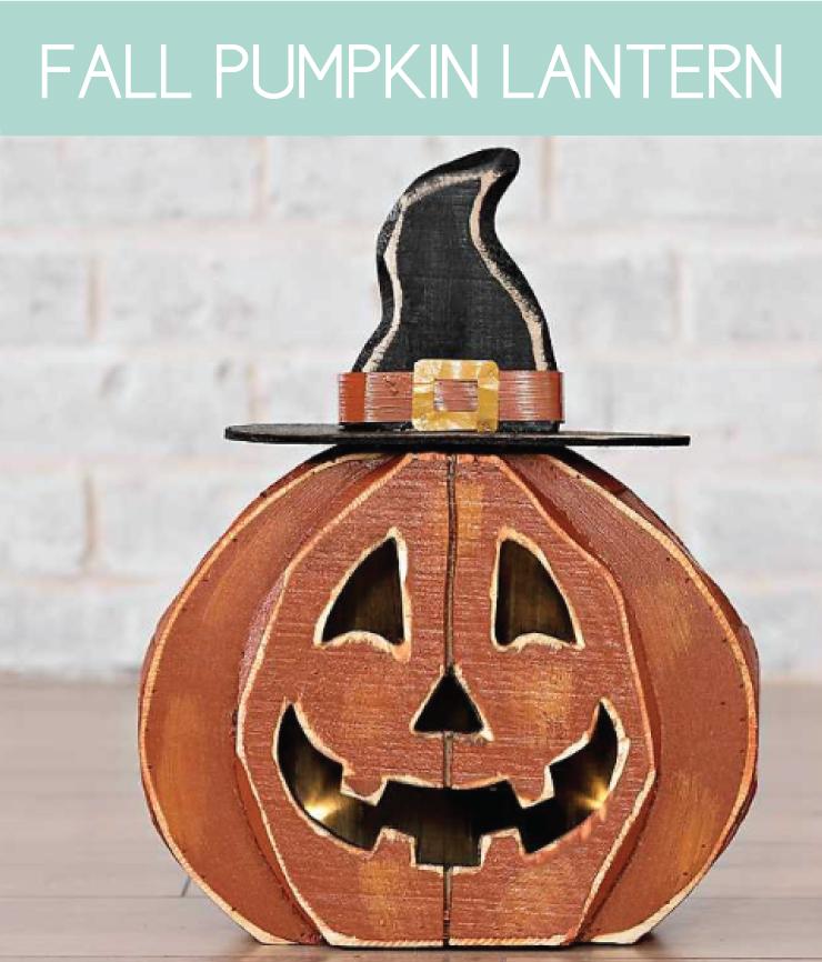 pumpkin-shaped wooden lantern
