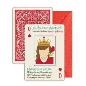 Queen of Hearts Birthday Invite