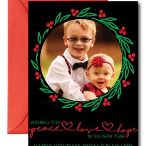 photo holiday card in red, green, and black