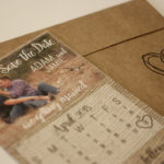 Rustic Burlap, Photo Magnet Save the Date | Calendar Save the Date Magnet or Card with Envelopes Included | Set of 5 Save the Dates