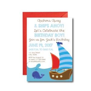 Ships Ahoy, Nautical Themed Invite