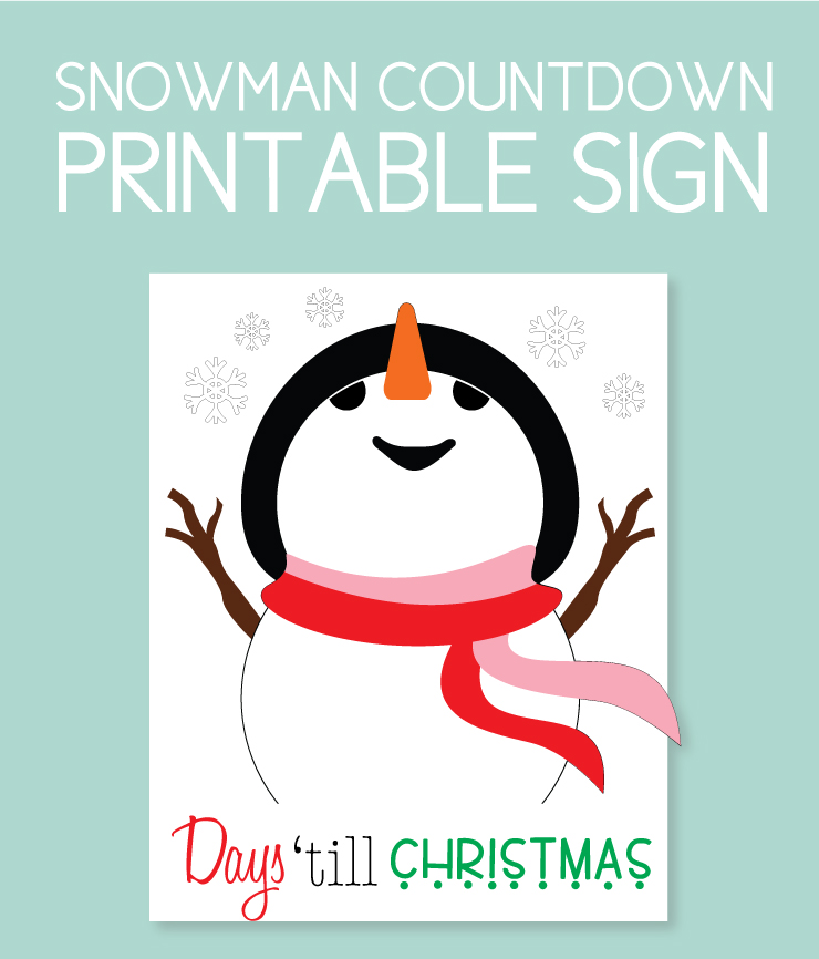 Snowman themed countdown sign