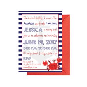 Fun, Nautical-Striped Themed Invite