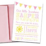 Sunshine Themed Party Invitation with Envelopes | Printed Birthday Invites and Color Envelopes | Custom Colors Available