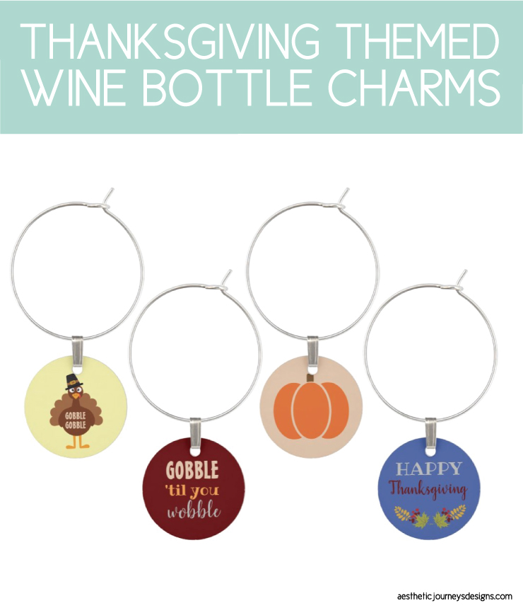 thanksgiving wine glass charms