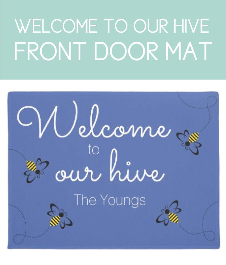 Welcome to our Hive, Honey Bee Front Door Mat