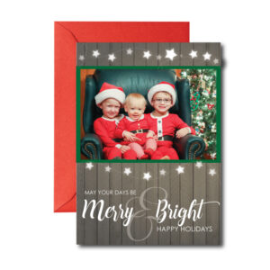 wood background merry and bright photo christmas card