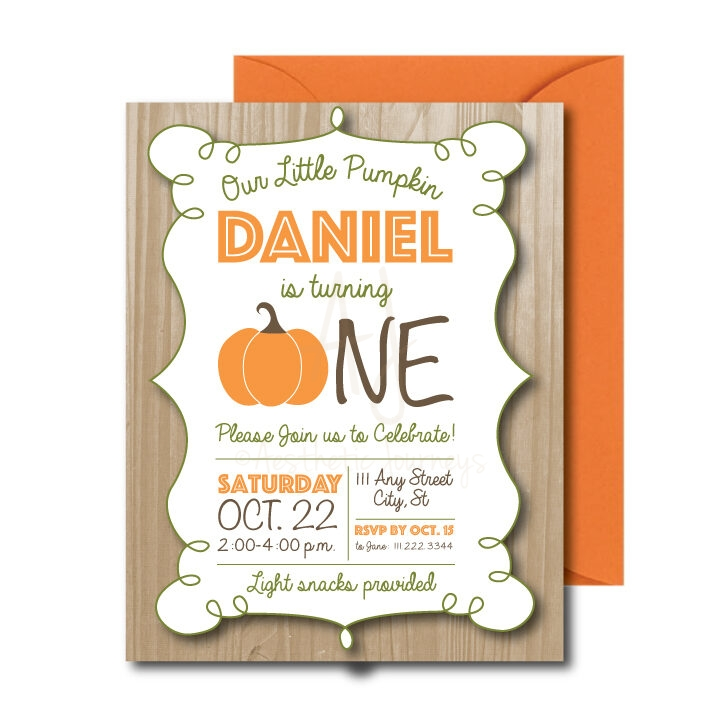 Wooden Pumpkin Party Invite