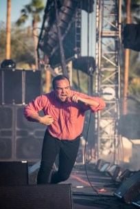 Future Islands performs at the Coachella Music Festival in Indio, California on April 16, 2017. (Photo: Charles Reagan)