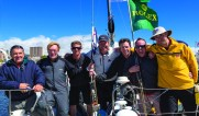 Darryl Hodgkinson and his crew on arrival at Consitution Dock. Credit:ROLEX Carlo Borlenghi
