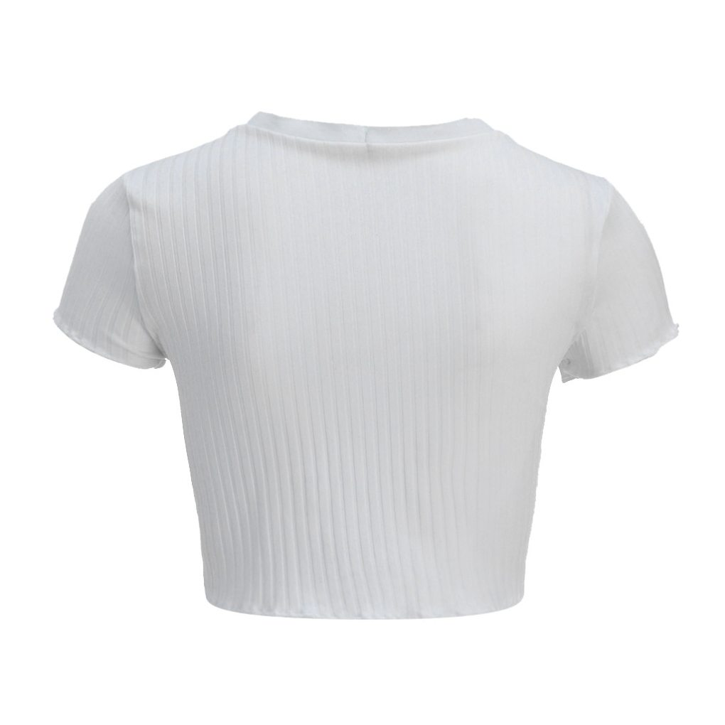 tee Short Sleeve Ribbed Buttons