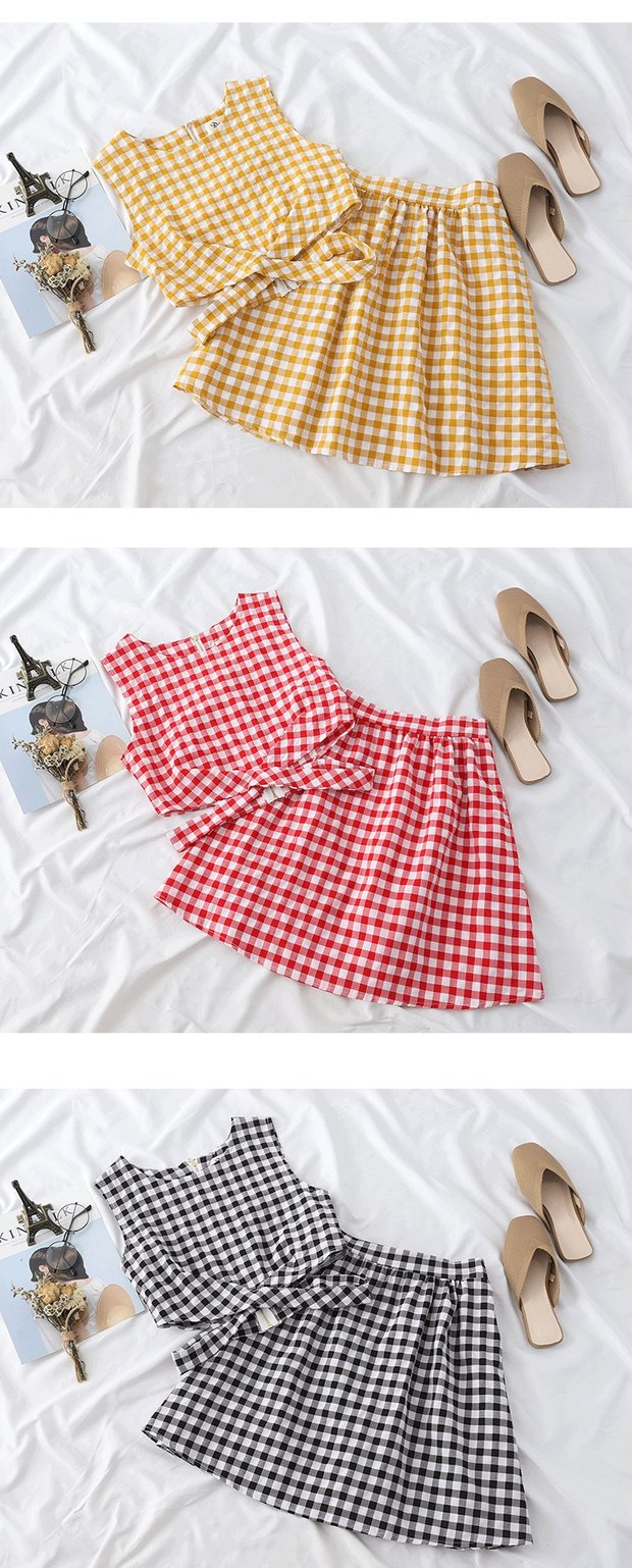 Plaid Tank Top and Skirts Two Pieces