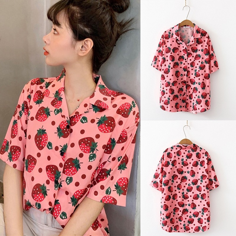 Short Sleeve Tops Strawberry Printed