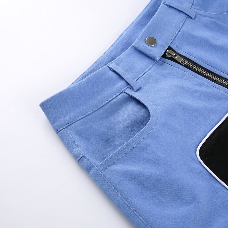 Cut Out Black & Blue Cargo Pants