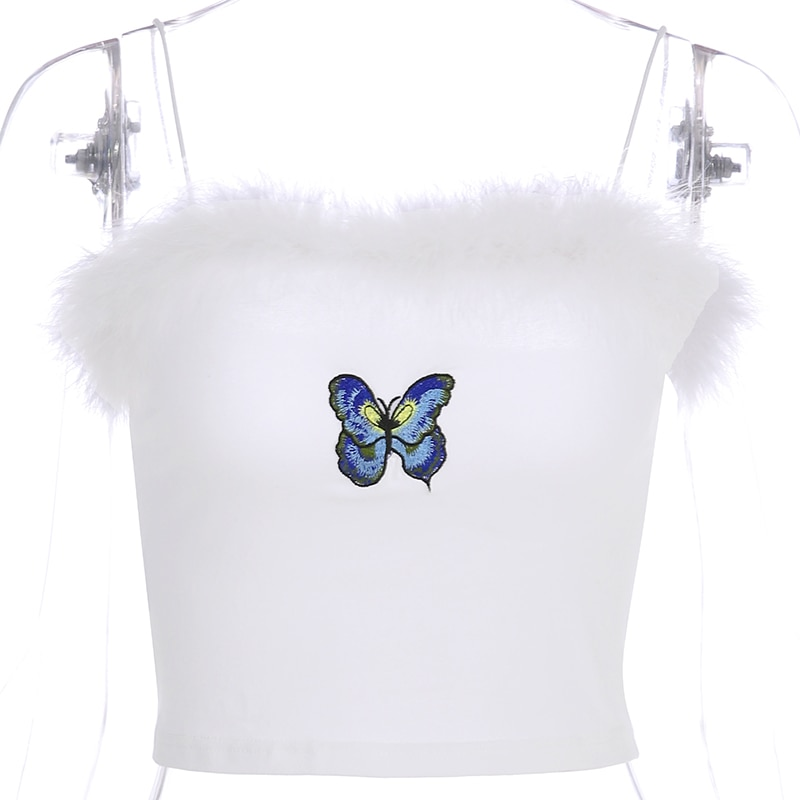 Cute Crop Tops Butterfly cotton
