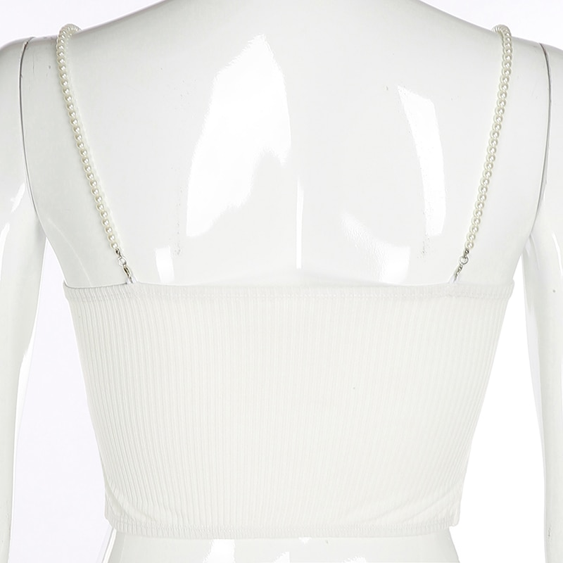 Butterfly Crop Tops Bead Chains White