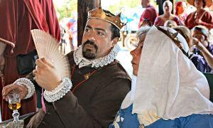 Master Daniel del Cavallo with Duchess Meirwen uerch Owein. Photo by THLady Sophie Davenport.