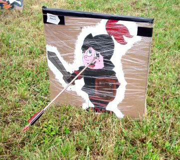 Peerage shoot target, with Count Andreas' character losing an eye, Ouch.