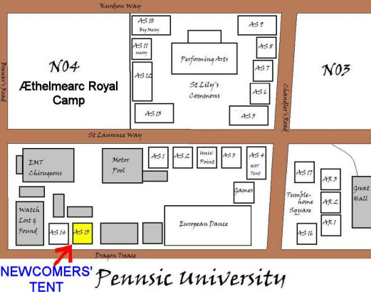 Newcomers Tent Map