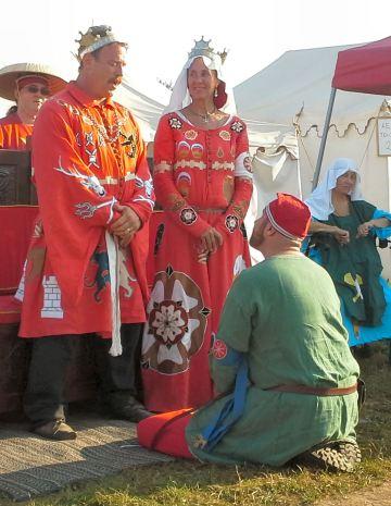 Lord Markus Skalpr Grimsson receiving his Cornelian. Photo by Mistress Arianna of Wynthrope.