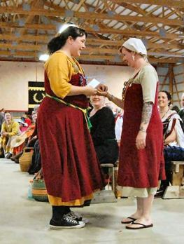 Baroness Sybilla is third in the Largesse competition. Photo by THLady Aine ny Allane.