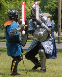 THLord Jussie did combat with youth fighters for his Pas d'Armes. Photo by Jinx.