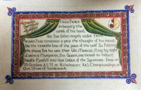 Hrolf's Sycamore scroll. Photo by Maestro Orlando.