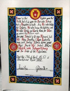 Lord Ulrick's scroll by Lady Kathryn MacLuing.