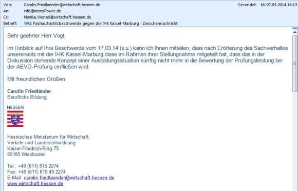 Erst nach der Fachaufsichtsbeschwerde hat die IHK Kassel-Marburg ihr rechtwidriges Prüfungsverfahren geändert.