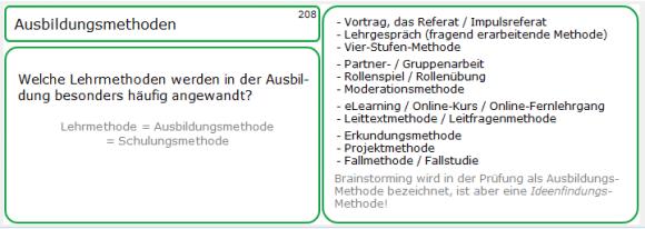 Lernkarten-Muster 208: Ausbildungsmethoden