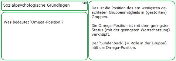 Lernkarten-Muster zur 'Omega-Position'
