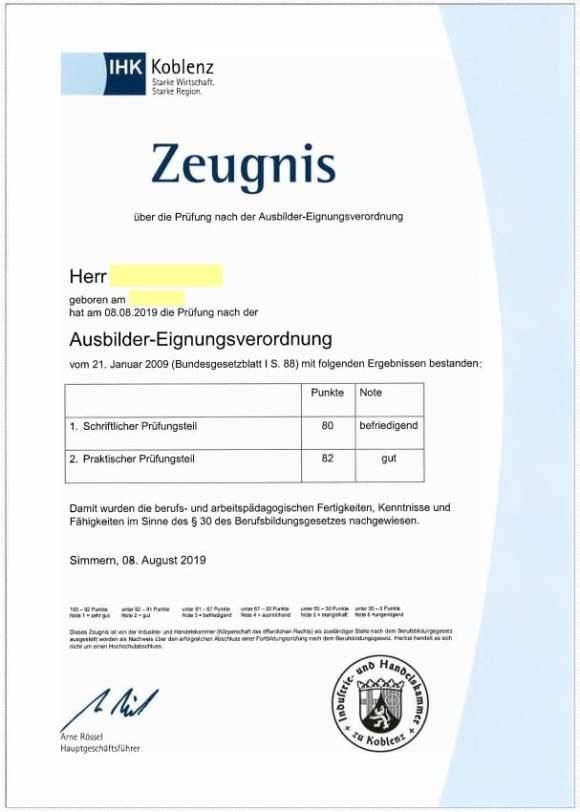 AdA-Schein der IHK Koblenz mit Noten