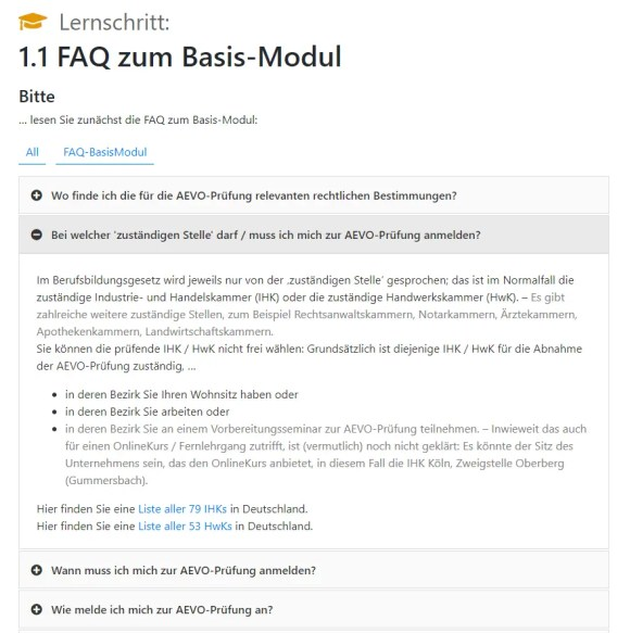 Screenshot aus der FAQ-Liste