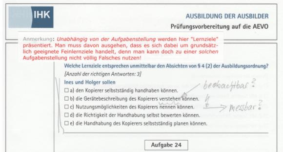 Fehlerhaftes Aufgabenmuster der DIHK Bildungs GmbH: