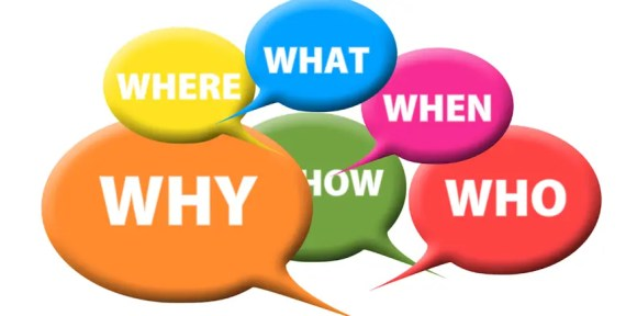 mehrere Sprechblasen mit Fragewörtern - als Symbolbild: Teile eines Leittextes