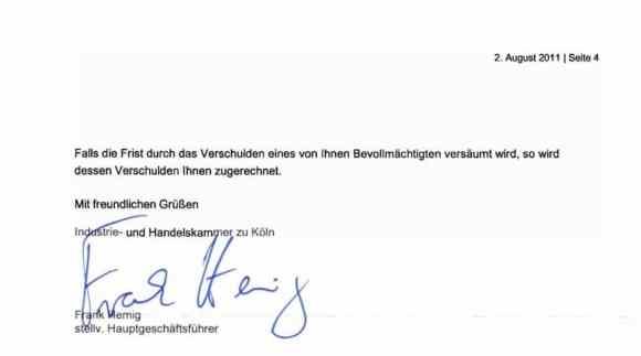 Ablehnungsbescheid der IHK Köln-Gummersbach nach Widerspruch durch den Prüfling, Teil 4