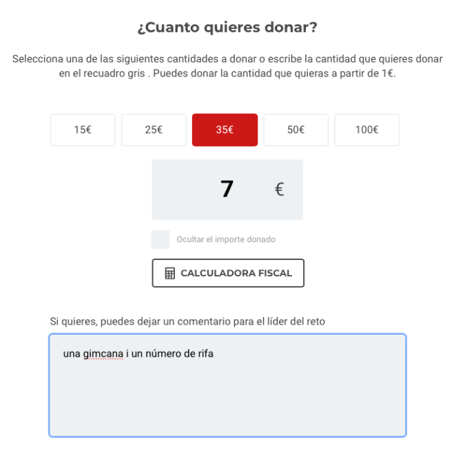 visualització de la donació a migranodearena