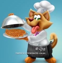 Mascote Gato para Embalagem de Ração