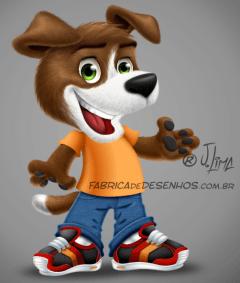 mascot design mascote personagem character desenho dog cao cachorro cachorrinho tenis jeans fofinho empresa loja logo roupas ilustracao cartoon cartum j. lima 1
