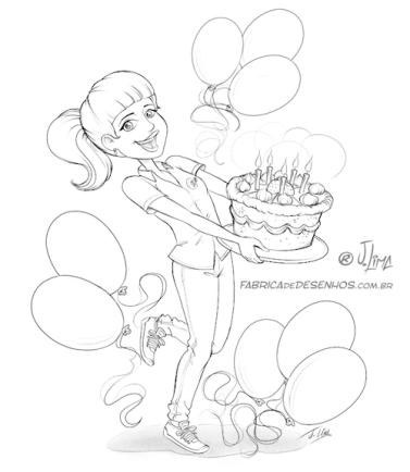 bolo aniversário parabéns conceito de arte esboço cake birthday congratulations concept art sketch croqui arte design mascote personagem mascote character 3d cartão post girl woman mulher menina uniforme desenho ilustração illustration jlima