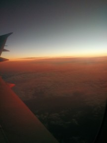 Flying into Brisbane with the sunrise