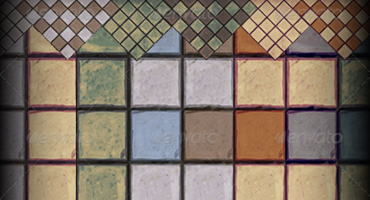 hand painted modular tile set